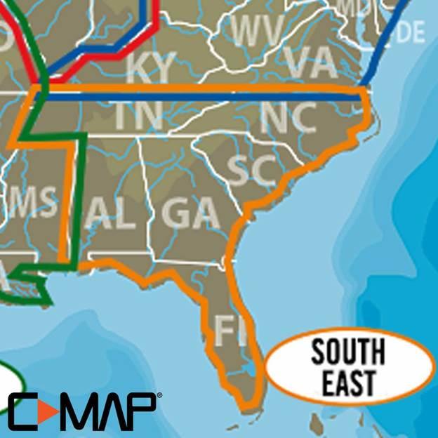 C-MAP (Lake Insight HD): South East US on usa with states and cities, usa region, usa national parks, usa climate, usa capitals, usa landmarks, usa ma, usa geography, usa puzzle, usa weather, usa food, usa major cities, usa buildings, usa mao, usa globe, usa mountain ranges, usa 13 colonies, usa and canada, usa rivers, usa outline,